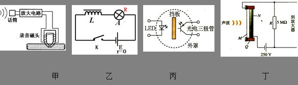 乙图电路开关断开瞬间,灯泡会突然闪亮一下,并在开关处产生电火花 c.
