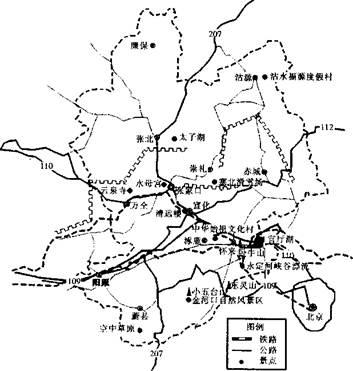 (10分)【旅游地理】读河北张家口旅游资源分布图,回答