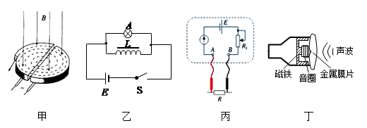 丙是欧姆表的内部电路图,丁图是动圈式话筒的原理图,下列说法正确的是