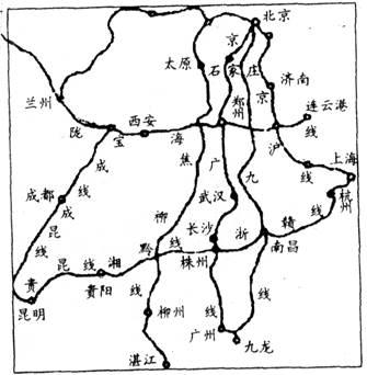 读我国铁路干线图,回答问题.(18分)