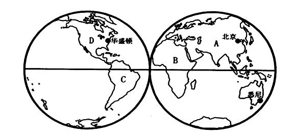 读下图(东,西半球图),完成相关问题.