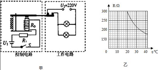 """电磁铁线圈中电流大于或等于50ma时,继电器的衔铁被吸合,使""""浴霸""""电路"""