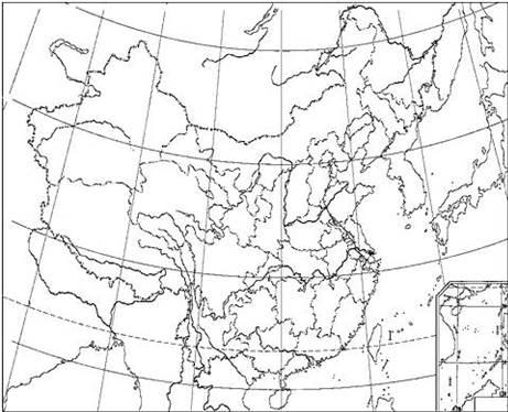 """【题文】读图""""中国行政区空白图"""",回答下?#24418;?#39064;"""