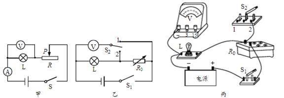 如图所示是明明同学测额定电压为2.5V小灯泡的额定功率的电路图.实验时,发现电流表已损坏,但手边还有一只电压表和电阻箱(元件符号)可利用,请你帮助明明利用这些元件设计一个测定小灯泡额定功率的方案,并完成实验操作步骤.  (1)在方框内画出新设计的电路图__________________;  (2)按新设计的电路图连接好电路后,将滑动变阻器的滑片P移到___________处,再___________,然后调节滑动变阻器的滑片P和___________连入电路中的阻值,使电压表的示数为2.