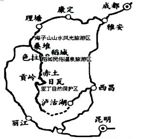 右图为稻城自驾游景点分布图. 材料二 稻城主要景点布局图