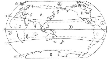 读世界海陆分布图,回答下列问题.