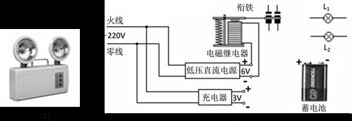 当照明电路突然停电时,应急照明灯通过自动控制电路及相关部件自动把2