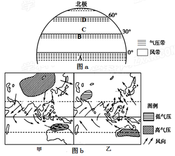 """读""""全球部分地区气压带,风带分布图""""和""""亚洲季风图"""",回答下列问题.图片"""