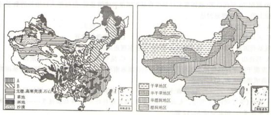"""读""""我国主要土地利用类型分布图""""和""""我国干湿地区分布图"""",完成下列各"""