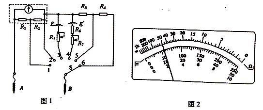 图1为某同学组装完成的简易多用电表的电路图