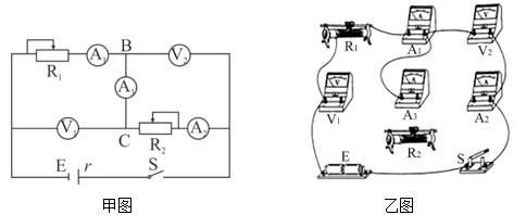 某学习小组利用图甲所示的电路测量电源的电动势及内阻,同时测量电压