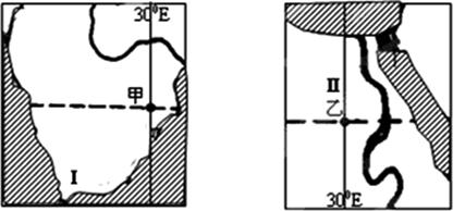 下图是世界两个区域海陆分布简图(阴影代表海洋).读图