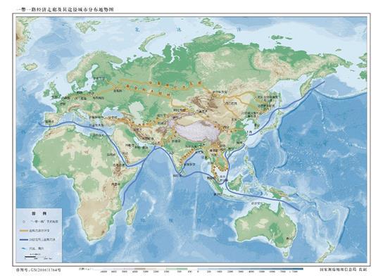 (题文)读一带一路路线图,回答问题  一带一路战略具体包括以下几条线路: 1、新亚欧陆桥经济带(西北方向):通过新的亚欧大陆桥向西通过新疆连接哈萨克及其中亚、西亚、中东欧等国家,发挥新疆独特的区位优势和向西开放重要窗口作用,打造丝绸之路经济带核心区。中线:北京西安乌鲁木齐阿富汗哈萨克斯坦匈牙利巴黎 2、中蒙俄经济带(东北方向):连接东三省,向东可以抵达绥芬河、海参崴出海口,向西到俄罗斯赤塔通过老亚欧大陆桥抵达欧洲。现已开通津满欧、苏满欧、粤满欧、沈满欧等中俄