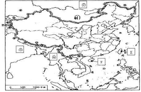 看中国地图,完成下列填空