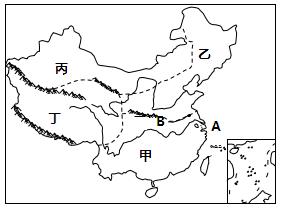 读我国四大地理区域分布图,回答下列问题.图片